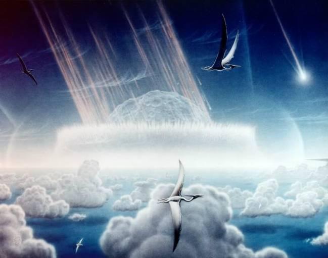 Representación artística e hipotética de cómo fue el impacto del asteroide que formó el cráter de Chicxulub. Imagen_ Wikipedia