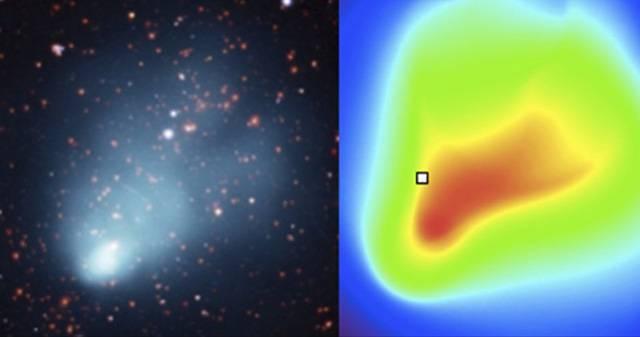 """Imagen comparativa de los datos (imagen de las múltiples galaxias y el gas emisor de rayos X, izquierda) con el modelo de gas caliente (derecha). La forma de """"cometa"""" de los datos de rayos X está bien reproducida por el modelo"""