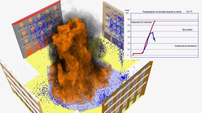 Simulación informática de la cremà de una falla de este año