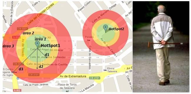 Ejemplo de disposición de áreas geográficas de seguridad.
