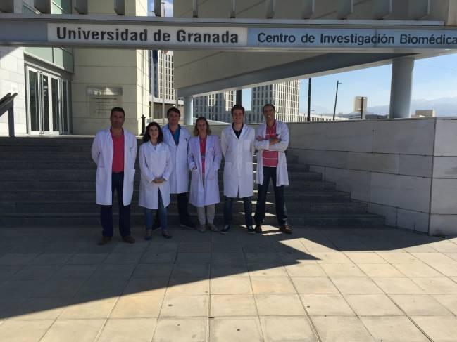 En la imagen, los investigadores de la UGR que han participado en este trabajo. De izquierda a derecha, Julio José  Ochoa Herrera, Naroa Kajarabille, Mario Pulido Morón, Silvia Hijano, Jorge Moreno Fernández y Javier Díaz Castro.
