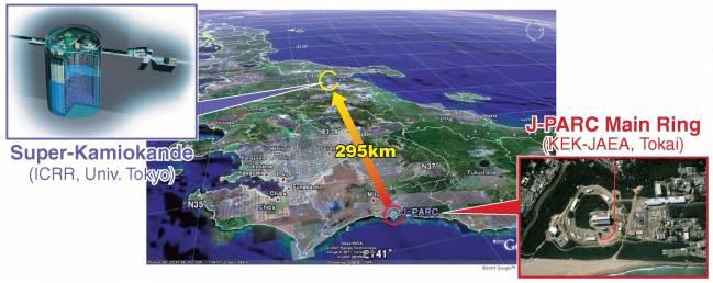 J-PARC y Super-Kamiokande en la costa este y oeste, respectivamente, de Japón. Los separan casi 300 quilómetros.