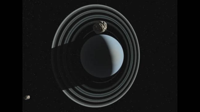 Representación artística del asteroide Crantor cerca de Urano. / SINC