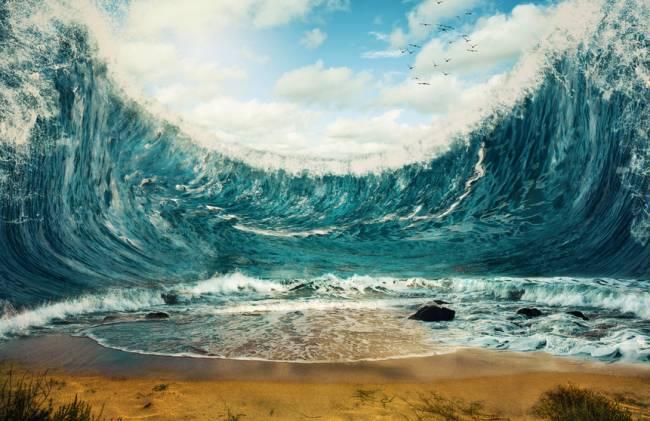 Recreación artística de un tsunami. / Fotolia