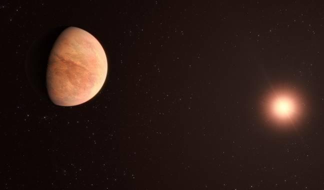 Recreación del exoplaneta L 98-59b con su estrella al fondo.