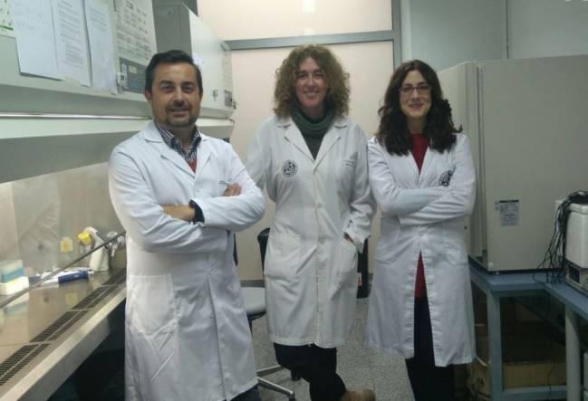 De izquierda a derecha, los investigadores, Juan Antonio Marchal, Macarena Perán y Elena López.