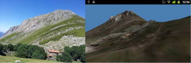 El monte Txindoki, en una foto y en la aplicación de geolocalización para Android. (Foto: María Teresa Ruiz Monzón).