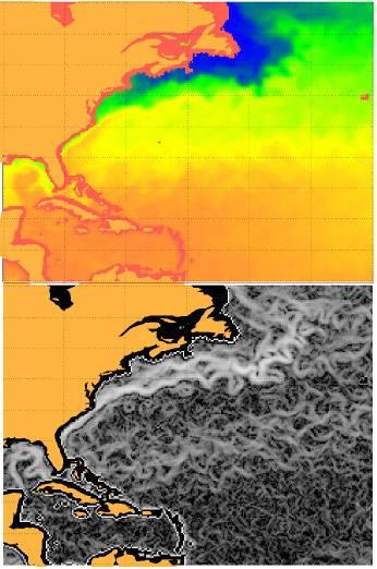Identificación de las corrientes marinas (debajo) a  partir de imágenes de temperatura de la superficie del mar (arriba).