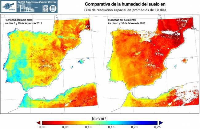 Mapa peninsular de la evolución de las condiciones de humedad