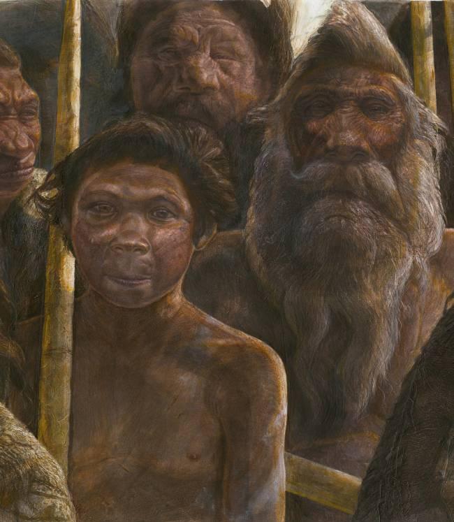 Ilustración de una familia de Homo heildelbergensis. Autor: Kennis & Kennis / Madrid Scientific Films
