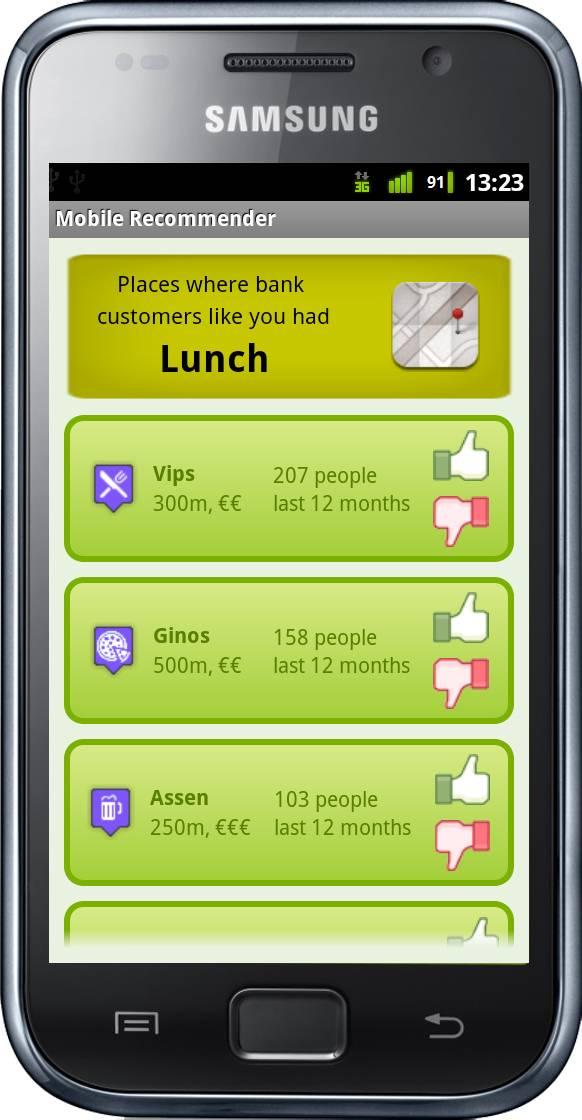 Aplicación móvil Android desarrollada que muestra los resultados de una recomendación personalizada de restaurantes. Autor: Daniel Gallego Vico