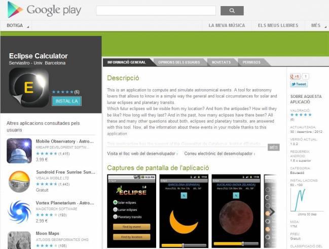 Eclipse Calculator. Universidad de Barcelona