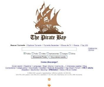 Captura de pantalla de la web de busqueda de torrents, The Pirate Bay