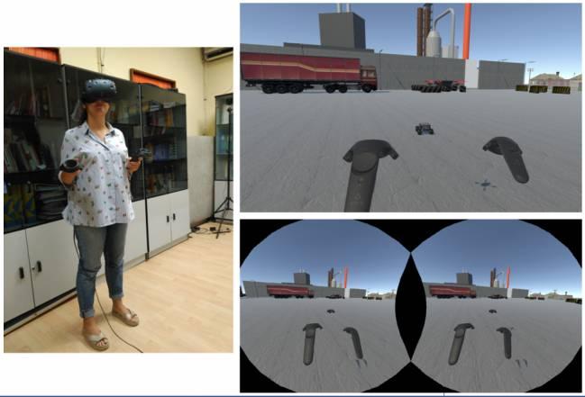 Investigadora inmersa en una misión con gafas de realidad virtual