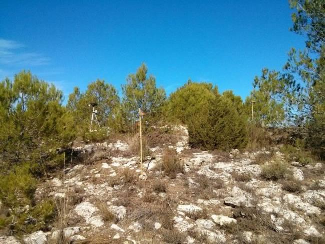 Red terrena desplegada durante una jornada de pruebas en la Sierra de Mariola (Alicante).