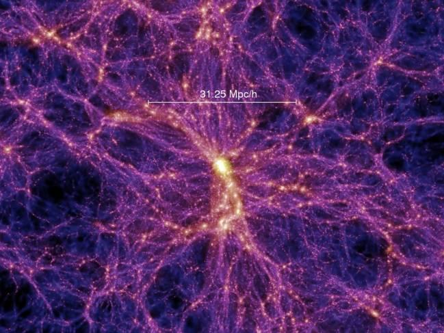 Simulación por ordenador que muestra la distribución de materia en el universo, con nodos densos, filamentos y vacíos. Fuente: V. Springel, MPIA.
