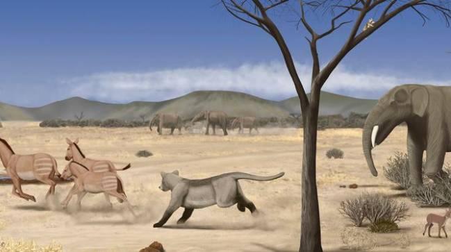 Reconstrucción del paisaje semidesértico del Mioceno de Somosaguas. / Marco Ansón.