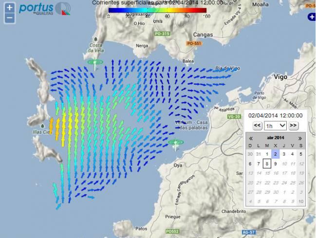 Captura de pantalla del visor de radar de corrientes en la ría de Vigo