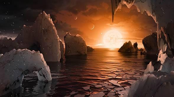 Esta ilustración nos permite imaginar lo que sería estar en la superficie del exoplaneta TRAPPIST-1f, uno de los siete hallados en el sistema TRAPPIST-1. / Autores: NASA/JPL-Caltech.