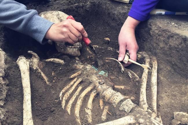 Arqueólogos limpian restos fósiles humanos