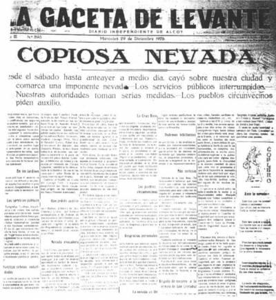 Nevada Levante 1926 portada 'La Gaceta de Levante'