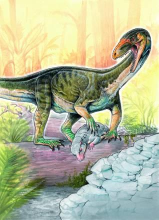 La nueva especie Teleocrater rhadinus, un pariente cercano de los dinosaurios con una presa de cinodonte juvenil / Museo Argentino de Ciencias Naturales