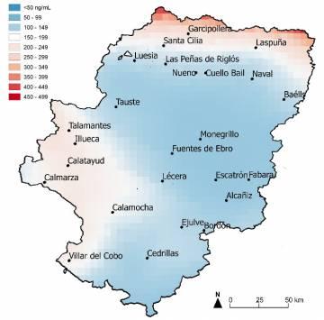 Distribución espacio-temporal de los riesgos de la exposición al plomo (colores más rojos) para los buitres leonados Aragón / Patricia Mateo Tomás