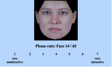 "Pantallazo del experimento online  ""Rate That Face"""