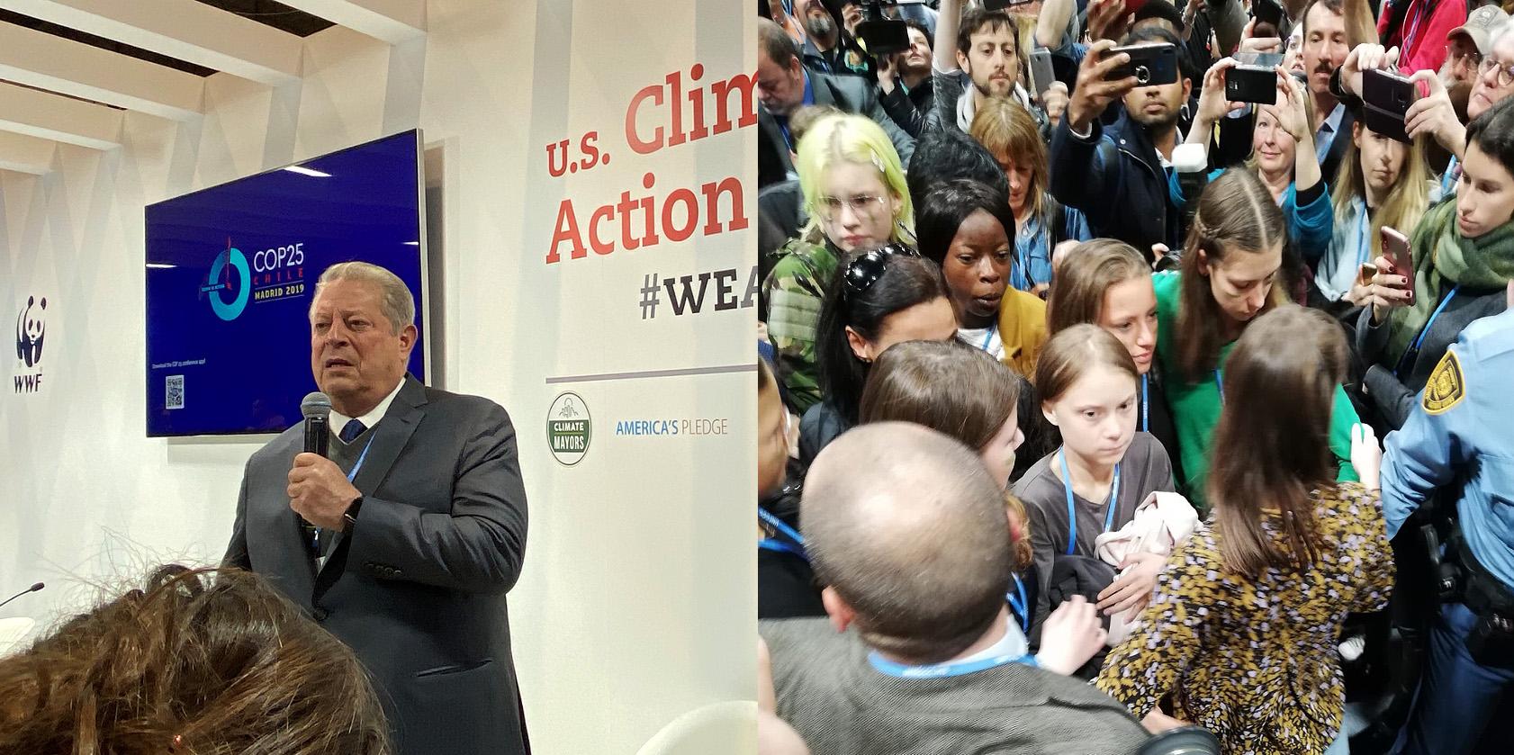 El vicepresidente de EE UU Al Gore y la activista sueca Greta Thunberg en la cumbre del clima de Madrid. / @algore/@pablorros_