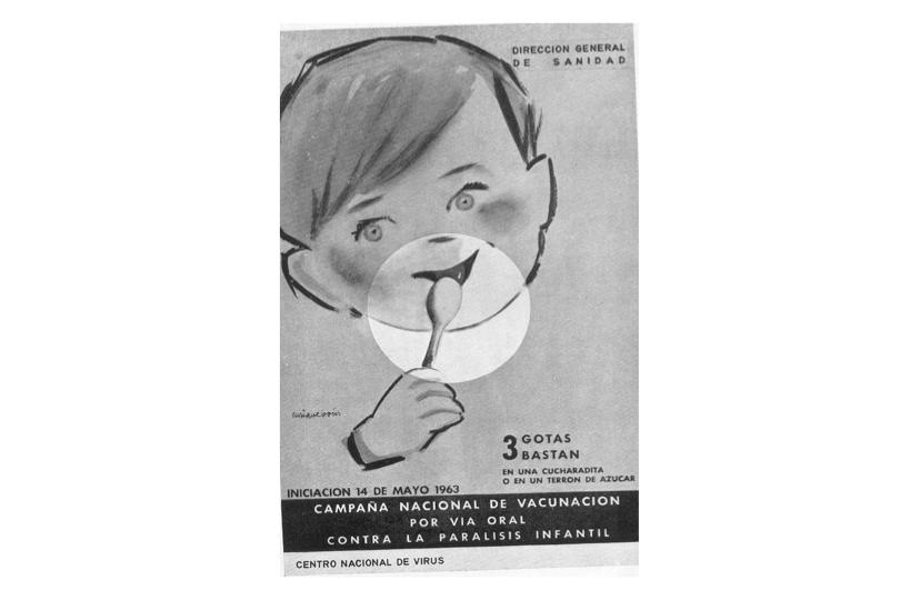 Cartel de la campaña nacional de vacunación contra la poliomielitis.